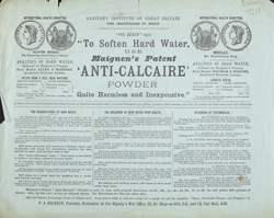 Advert For Maignen's Anti-Calcaire Water Softening Powder reverse